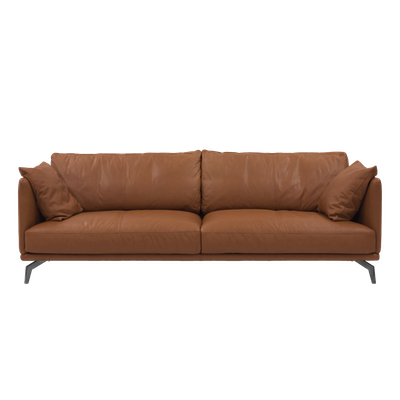Como 3 Seater Sofa Brown Genuine Cowhide Down Feathers Premium
