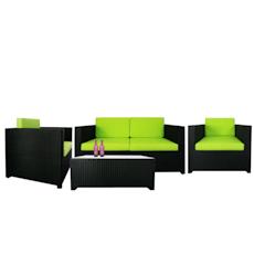Black Fiesta Sofa Set II with Green Cushions