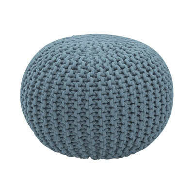 Moana Knitted Pouffe - Smoke Blue