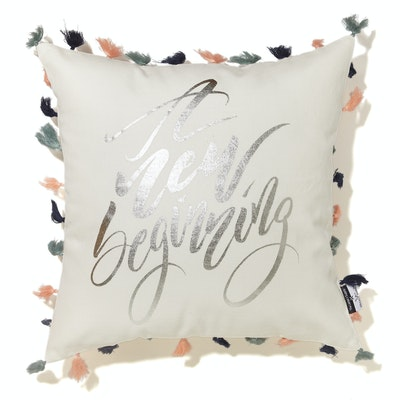 A New Beginning Cushion Cover - Silver Wording - Image 1