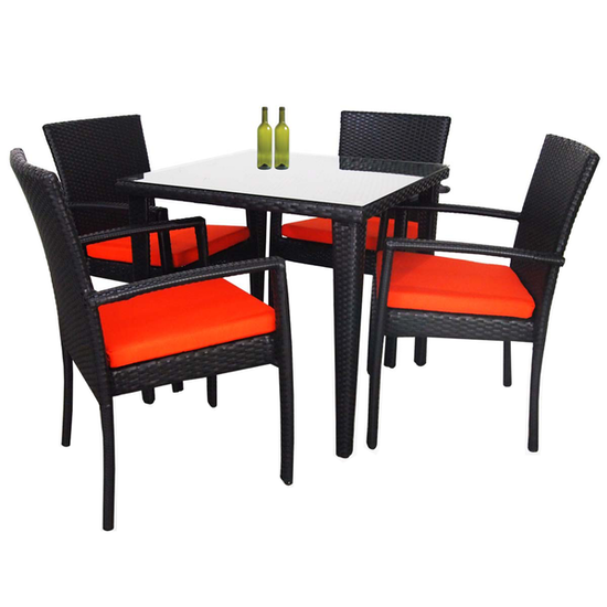 Palm Outdoor Dining Set With Orange Cushions