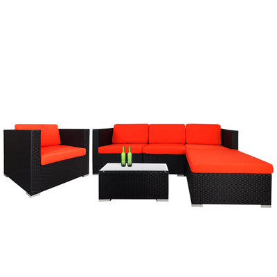 Summer Modular Sofa Set with Orange Cushions - Image 1