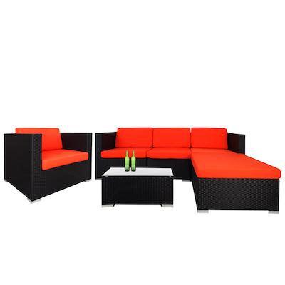 Summer Modular Sofa Set with Orange Cushions