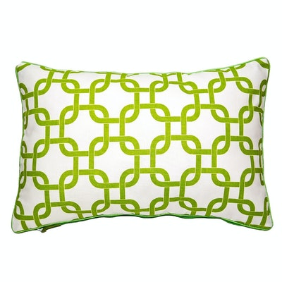 Lattice Rectangle Cushion - Apple Green - Image 1