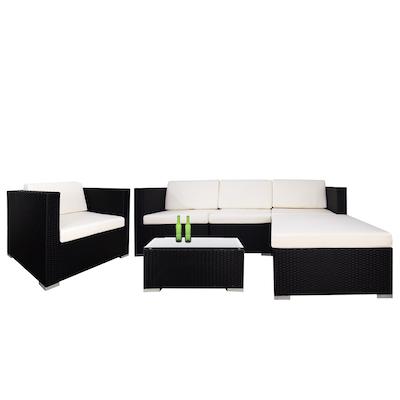 Summer Modular Sofa Set with Creamy White Cushions - Image 1