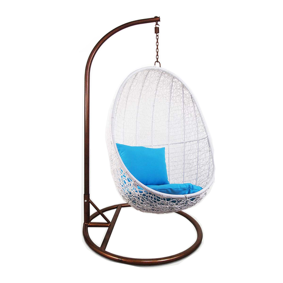 Arena Living - White Cocoon Swing Chair with Blue Cushion