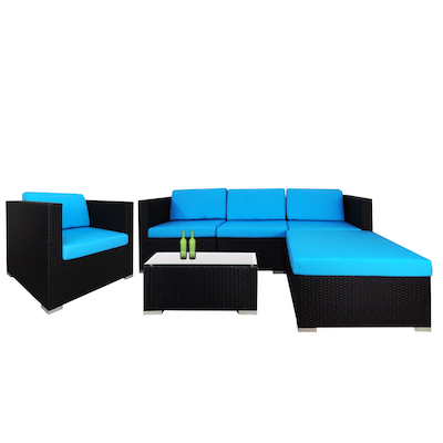 Summer Modular Sofa Set with Blue Cushions - Image 1