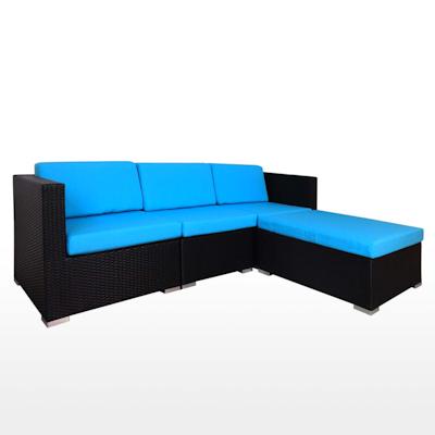 Summer Modular Sofa Set with Blue Cushions