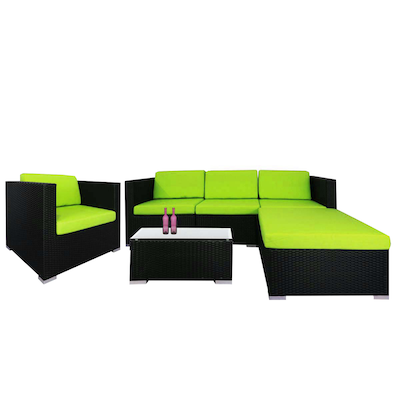 Summer Modular Sofa Set with Green Cushions - Image 1