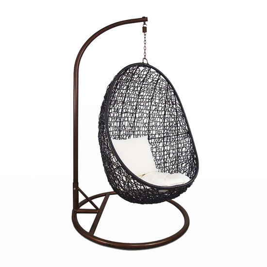 Arena Living - Black Cocoon Swing Chair with White Cushion