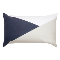 Colourblock Lumbar Cushion - Navy/Grey