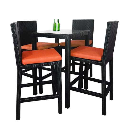 Midas Outdoor Dining Bar Set With 4 Chair And Orange Cushion