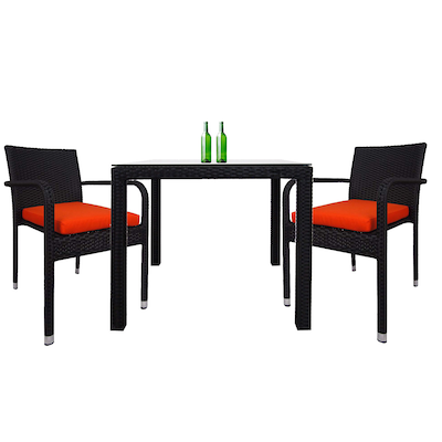 Palm Dining Couple Set with Orange Cushions - Image 1