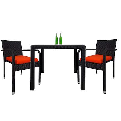 Palm Dining Couple Set with Orange Cushions