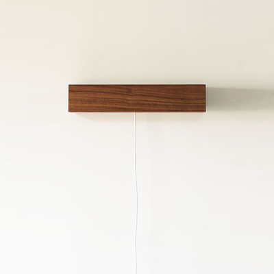 Wooden USB LED Bedside Wall Lamp - Dark Brown