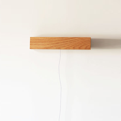 Wooden USB LED Bedside Wall Lamp - Light Brown
