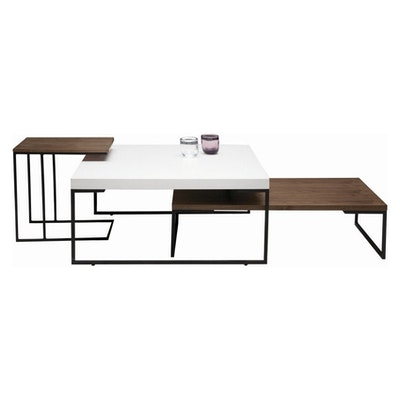 Myron Side Table - White, Matt Black