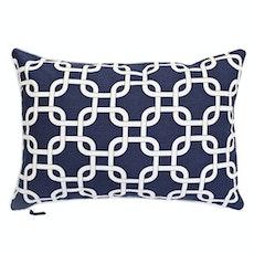 Lattice Rectangle Cushion - Navy