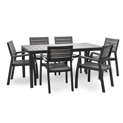 6 Harmony Armchair + 1 Harmony Table - Dark Grey - Image 1