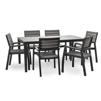 6 Harmony Armchair + 1 Harmony Table - Dark Grey