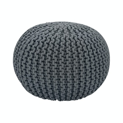 Moana Knitted Pouffe - Charcoal Grey - Image 1