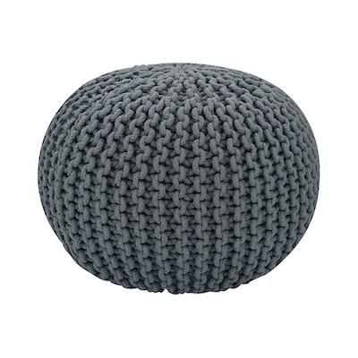 Moana Knitted Pouffe - Charcoal Grey - Image 1