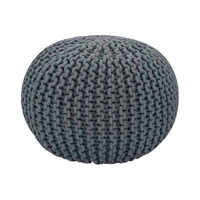 Moana Knitted Pouffe - Charcoal Grey