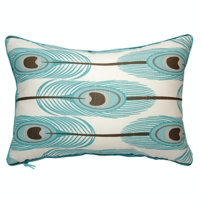 Feathers Rectangle Cushion - Blue - Image 1