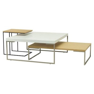 Myron Rectangle Coffee Table - White, Matt Black - Image 2