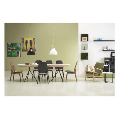 Otto Dining Table 2m - White Lacquered, Matt Black - Image 2