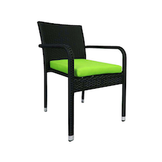Boulevard Dining Set with 4 Chair and Green Cushion