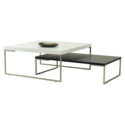 Myron Square Coffee Table - White, Matt Black - Image 2