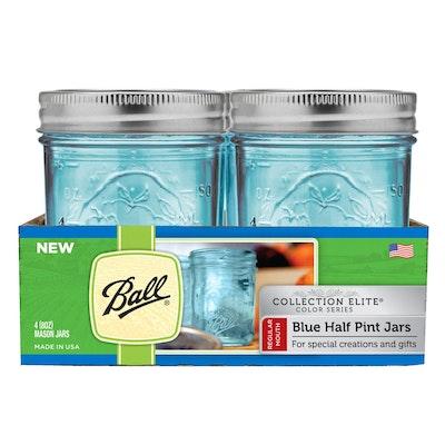 Ball Elite Regular Mouth 8 oz Mason Jars (Set of 4) - Blue