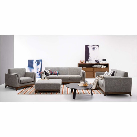Malmo - Elijah 3 Seater Sofa - Pebble (Fabric)