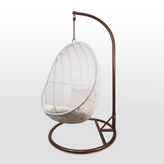 White Cocoon Swing Chair with Creamy White Cushion