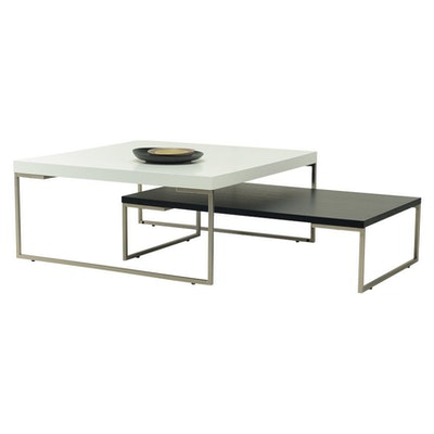 Myron Rectangle Coffee Table - White, Matt Silver