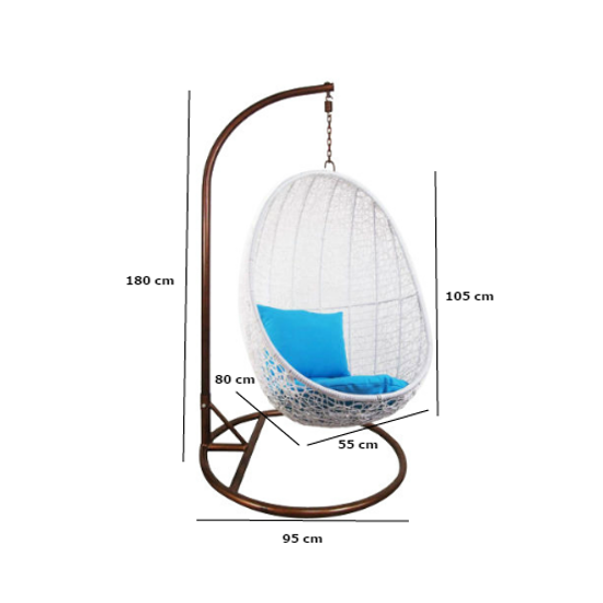 Arena Living - White Cocoon Swing Chair with Creamy White Cushion