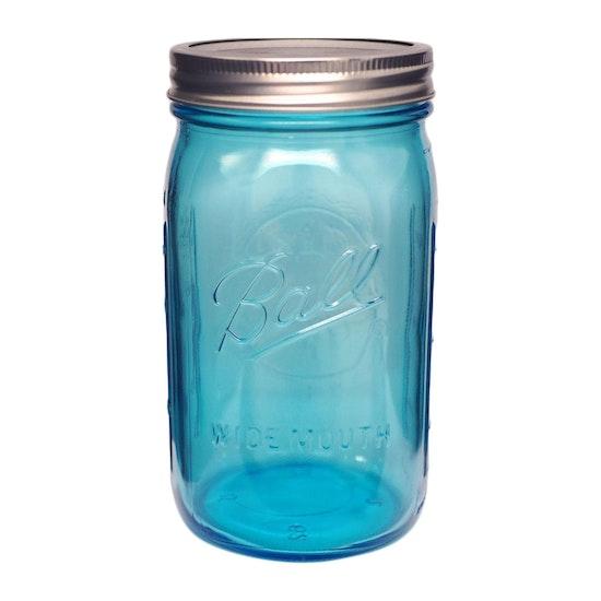 Mason Jars - Ball Elite Wide Mouth 32 oz Mason Jars (Set of 4) - Blue
