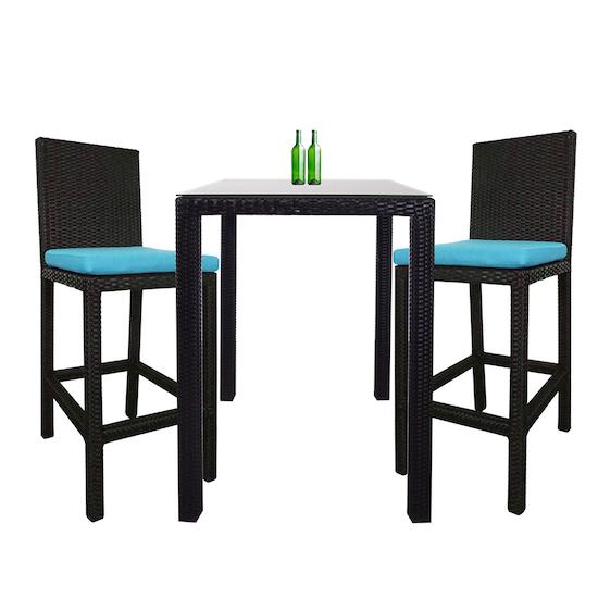 Arena Living - Midas Couple Outdoor Bar Set with Blue Cushion