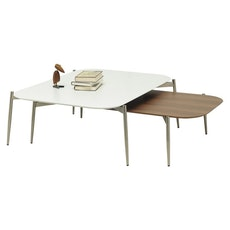 Sydney Low Coffee Table - White, Matt Silver