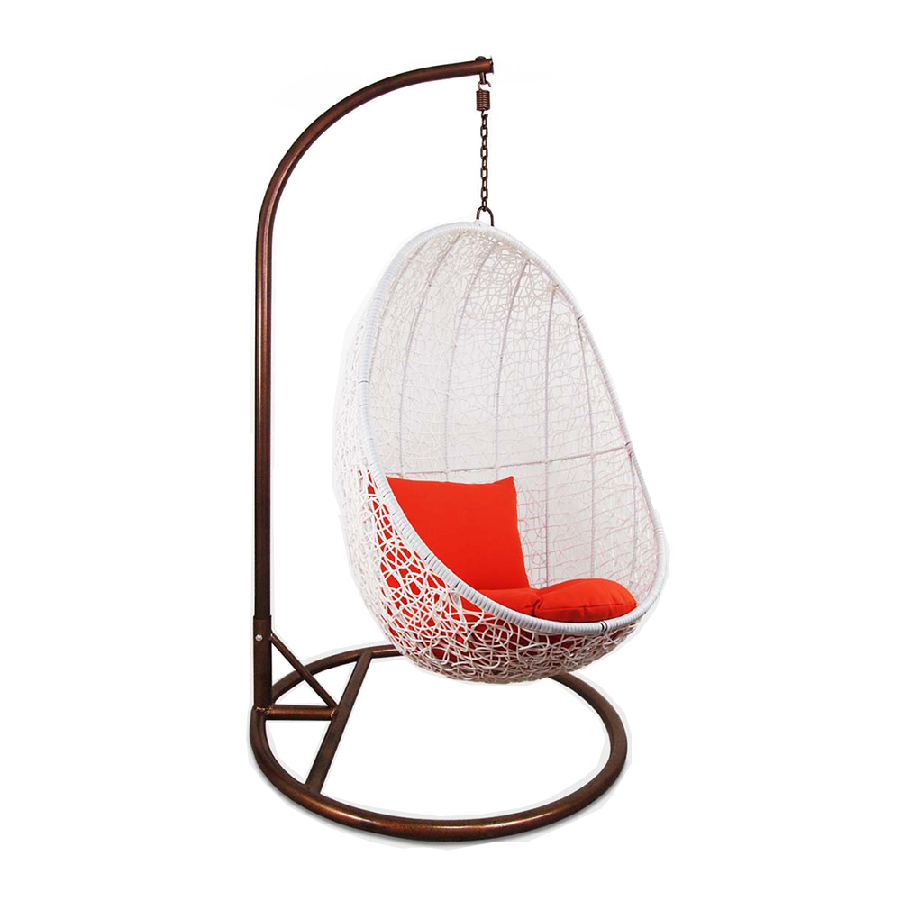 Charmant White Cocoon Swing Chair With Orange Cushion