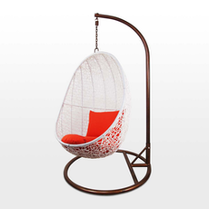 White Cocoon Swing Chair with Orange Cushion