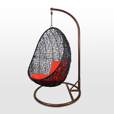 Black Cocoon Swing Chair with Orange Cushion