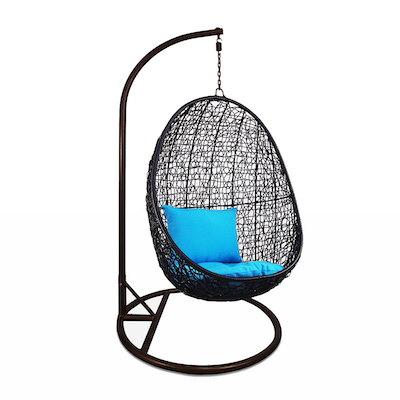 Black Cocoon Swing Chair with Blue Cushion - Image 2