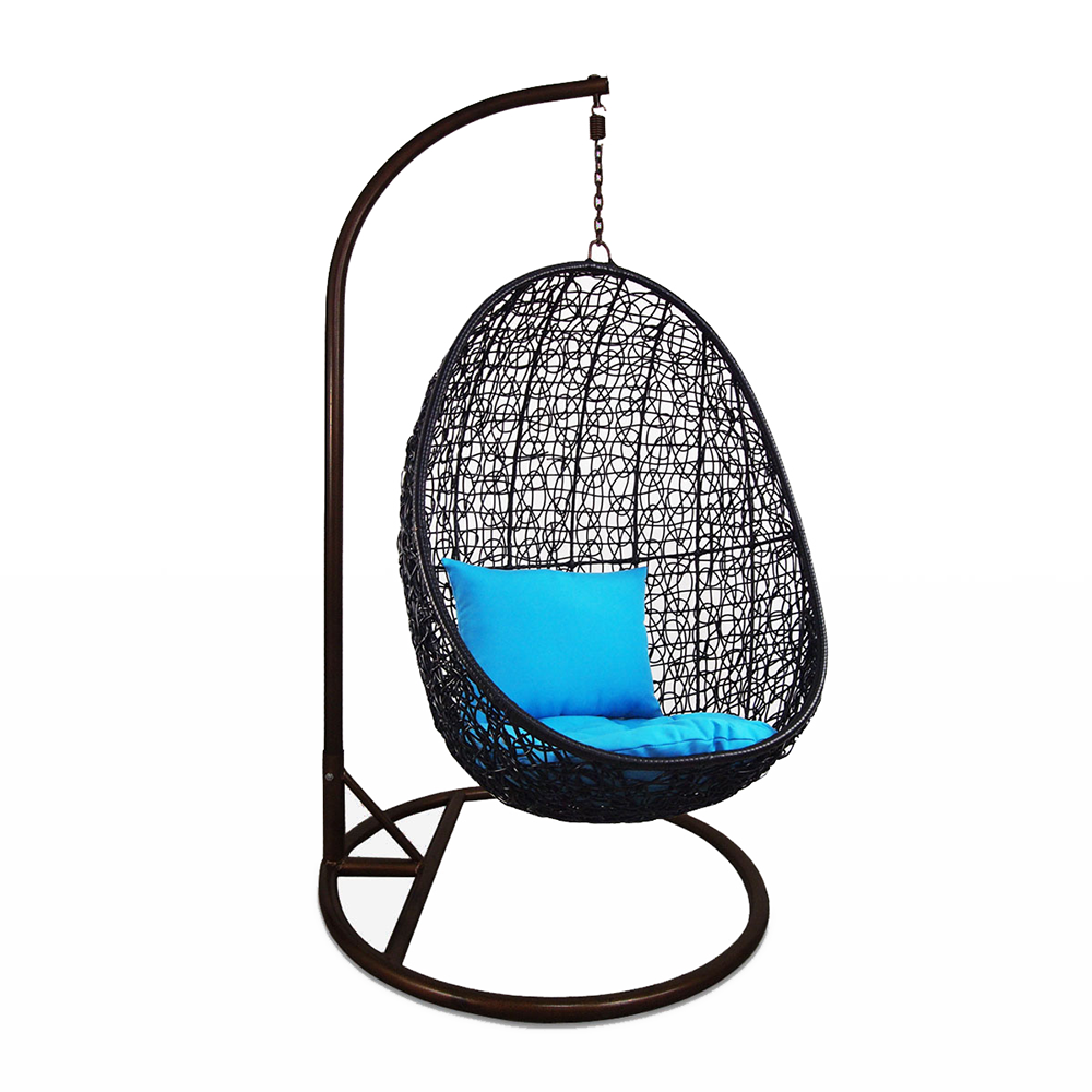 Merveilleux Black Cocoon Swing Chair With Blue Cushion