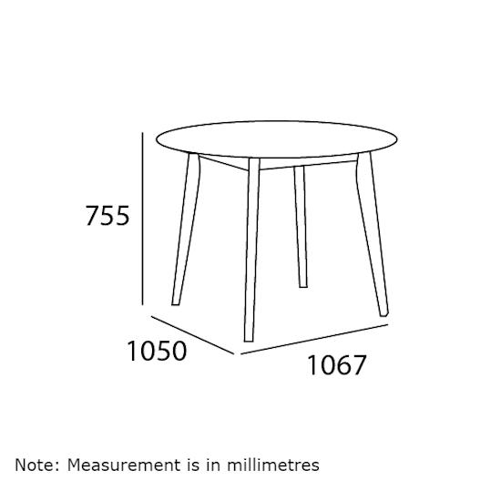 Malmo - Harold Round Dining Table 1m - Natural, White