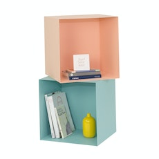Baxter Square Metal Box Shelf Set - Nude, Light Green