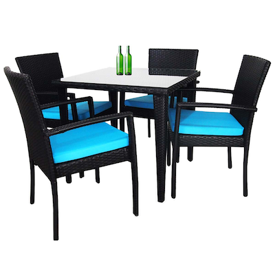 Palm Dining Set with Blue Cushions