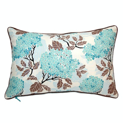 Hydrangea Rectangle Cushion - Egg Blue - Image 1
