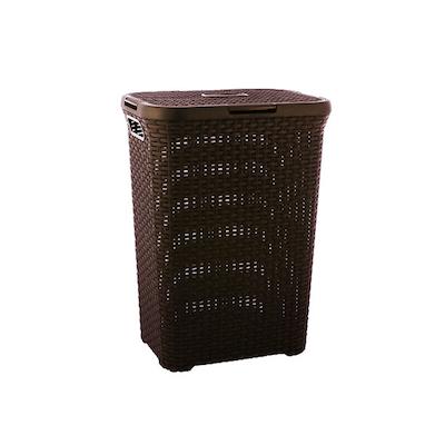 Rattan Style Rectangular Hamper Dark Brown Image 1